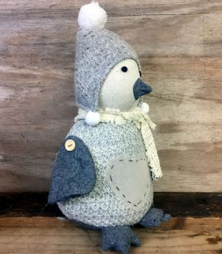 Grey Knitted Winter Penguin in Hat Doorstop